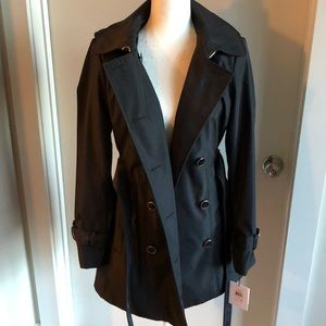NEW Calvin Klein short hooded trench coat small